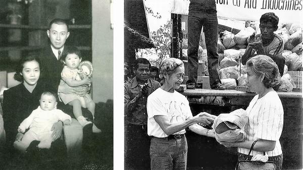 左は夫婦と子ども二人の記念写真。右は女性が女性に物資を手渡している写真