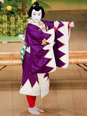 紫を貴重とした衣裳 体は向かって右側を向いているが、キリットしたお顔は正面を向いている